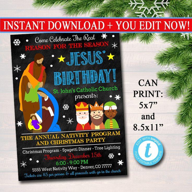Nativity Christmas Flyer Invitation, Reason for the Season