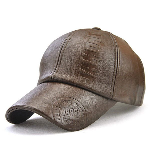Mens Man made Leather Warm Baseball Cap Adjustable Outdoor Sport Snapback Hat #Unbranded #BaseballCap