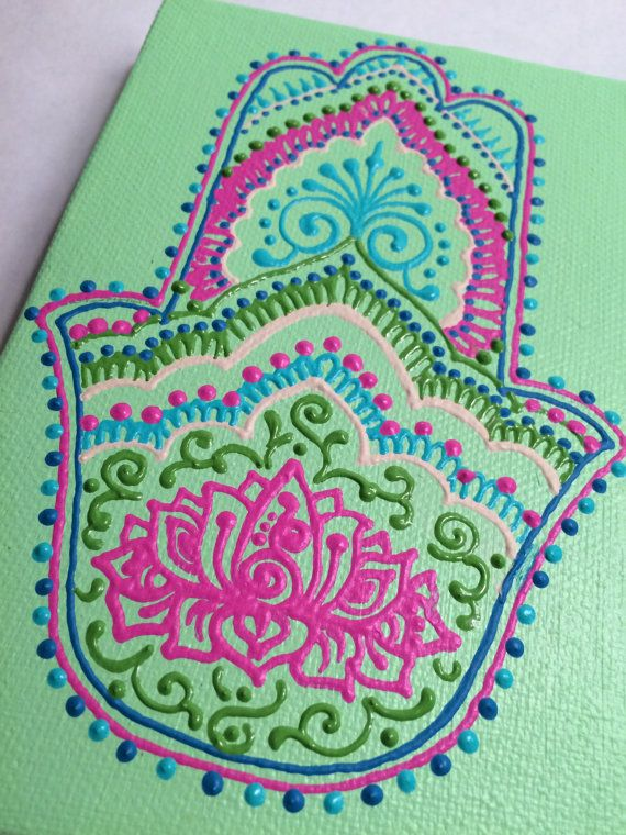 Henna Style Hand Painted Canvas with Hamsa and by HennaOnHudson