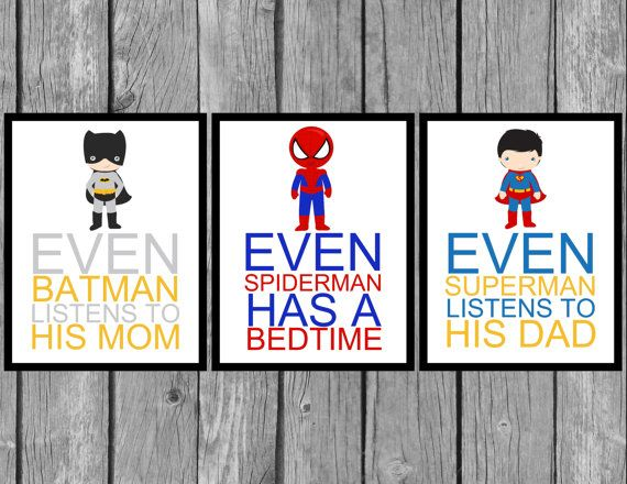 This superhero wall art would make a great addition to any boys bedroom. Featuring their favorite superheros and telling them rules that they