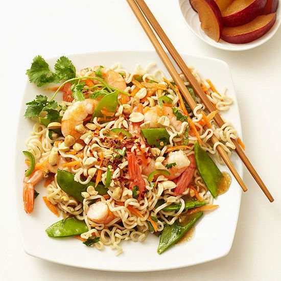 Add a little Asian flair to your dinner routine with the help of our Shrimp and Rice Noodle Salad. Drizzle the salad in a store-bought Asian dressing, grab your chopsticks, and enjoy! More fresh salads: http://www.bhg.com/recipes/healthy/quick-and-healthy-salad-recipes/ #myplate
