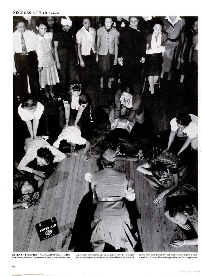 WW2 First Aid classes in Harlem, 1942.: Book, Life Magazine