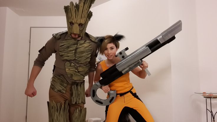 Selfmade Groot and Rocket cosplay