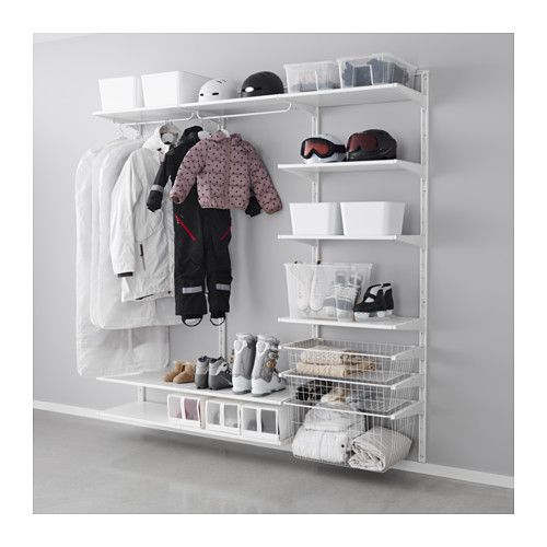 IKEA - ALGOT, Wall upright/shelves/rod, The parts in the ALGOT series can be combined in many different ways and easily adapted to your needs and space.You click the brackets into the ALGOT wall uprights wherever you want to have a shelf or accessory – no tools needed.Can also be used in bathrooms and other damp indoor areas. $173.50 - Closet organization
