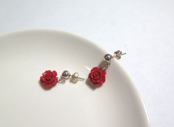 Red Stud  Coral Earring Carved flower Earring Silver Red by Viyoli