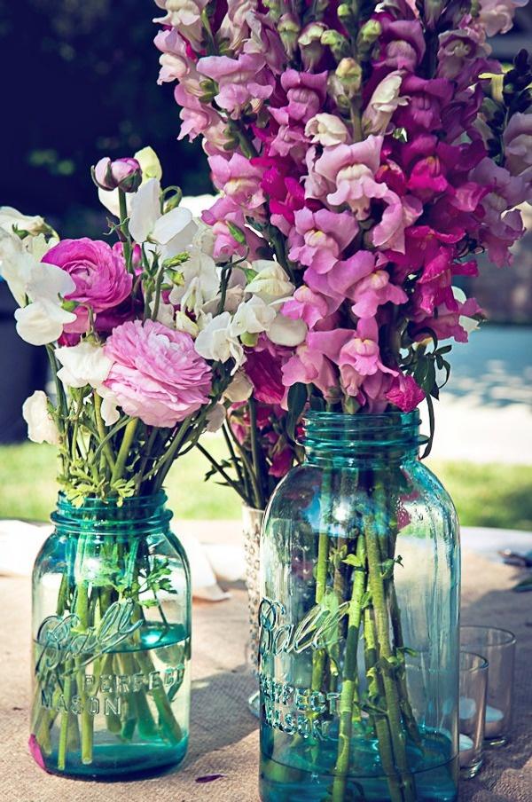 Beautiful Colors: Blue Mason Jars, Ball Jars, Ideas, Snapdragon, Color, Purple Flowers, Snap Dragon, Centerpieces, Center Pieces