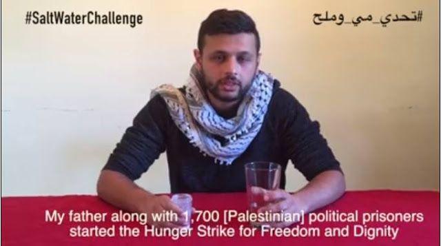 """Saltwater Challenge Solidaritas untuk mogok Palestina  Aarab Marwan Barghouti anak dari tokoh tahanan Palestina Marwan Barghouti (AlJazeera)  Ratusan orang di media sosial Arab memposting video dalam kampanye """"Saltwater Challenge"""". Mereka meminum air garam untuk menunjukkan solidaritas pada tahanan Palestina di penjara Israel yang sedang melakukan mogok makan. Aksi mogok telah berlangsung selama seminggu. Para tahanan berusaha bertahanan hanya dengan memakan garam dan minum air. Kampanye…"""