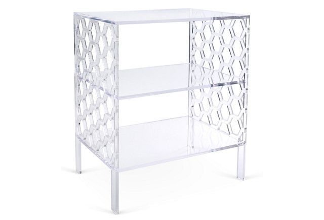 Honeycomb Acrylic Side Table, Clear