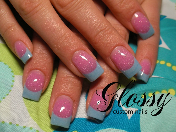 baby blue french & pink acrylic