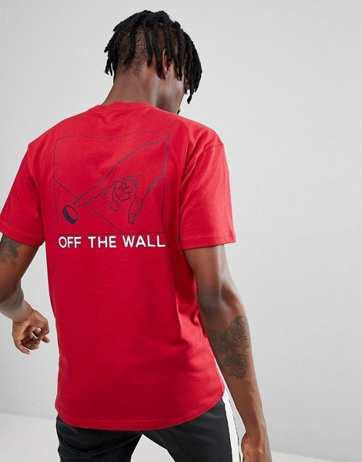 5343a38452 Vans Button Pusher T-Shirt With Back Print In Red VA36UECAR | VANS ...