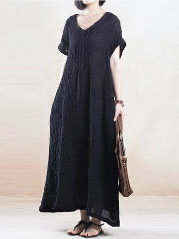 Women Solid O-Neck Ruffled Short Sleeve Maxi Dress  - NewChic Mobile.