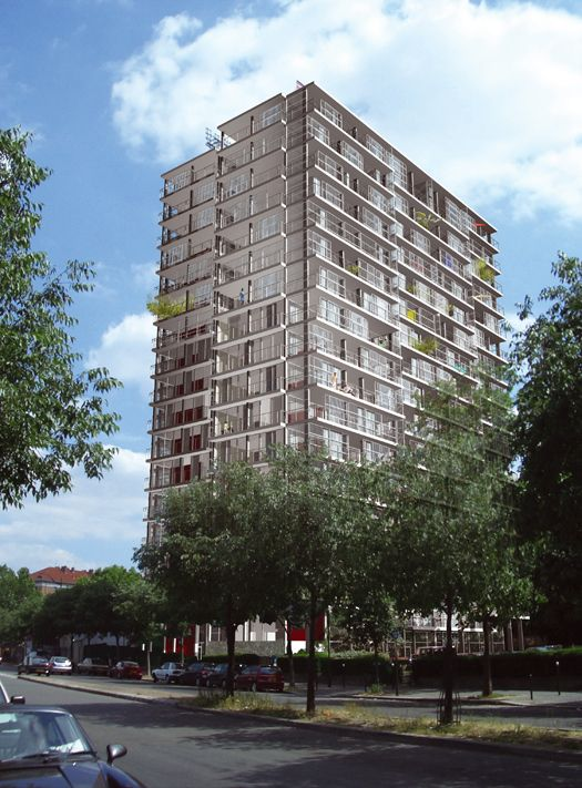 Relearning the Social: Architecture and Change; Frédéric Druot, Anne Lacaton, Jean Philippe Vassal, Rendering for Transformation of Bois-le-Prêtre Tower, 2006–11. [Image: Druot, Lacaton & Vassal]