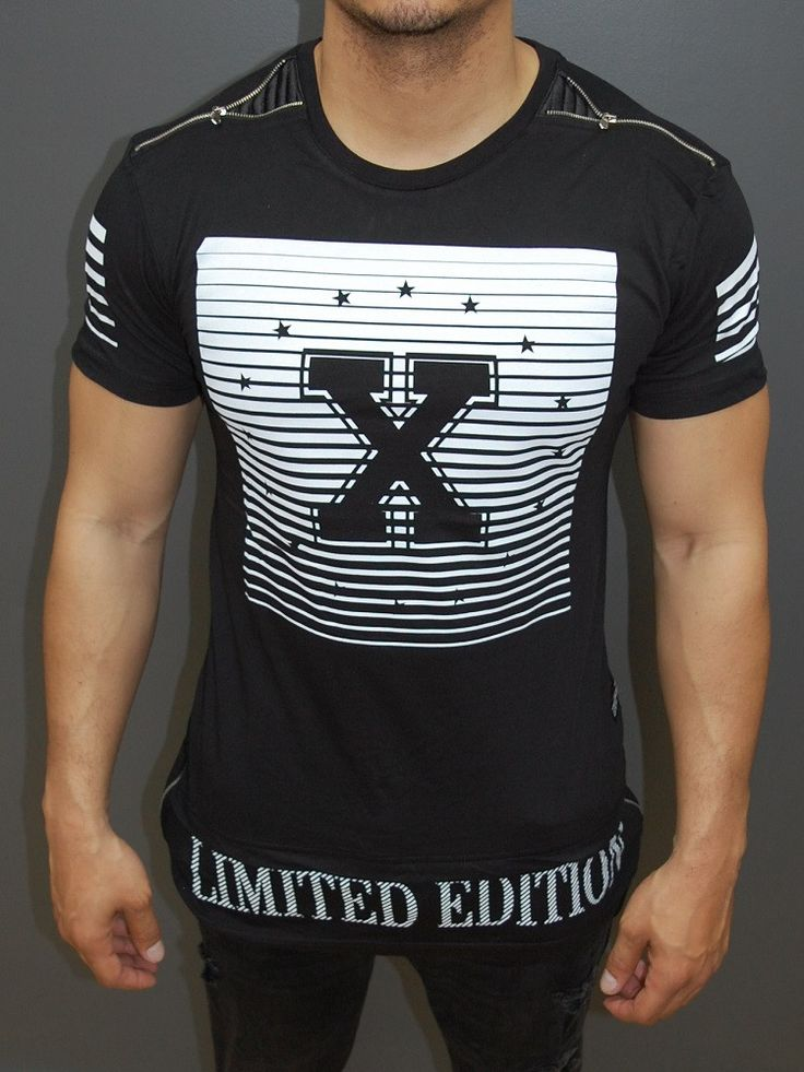 Y&R Men X Limited Edition Zippers Long Graphic T-Shirt - Black