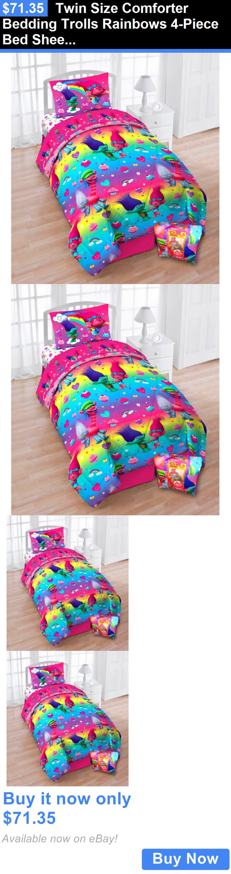 Kids at Home: Twin Size Comforter Bedding Trolls Rainbows 4-Piece Bed Sheet Set Girls Bedroom BUY IT NOW ONLY: $71.35