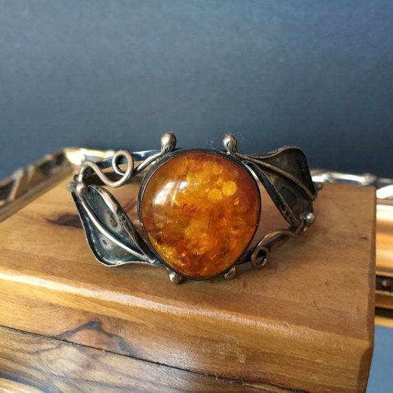 FREE U.S. SHIPPING Stunning Bohemian Art Nouveau Cuff Bracelet w/leaves & vines surrounding amber cabochon. Diamond shaped hallmark w/ 800