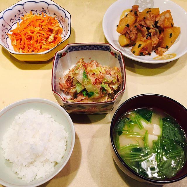moe.m_4142016.3.17(木) 今日の献立 お野菜たっぷり ❁ご飯 ❁豆腐と三つ葉の味噌汁 ❁豚バラ大根 ❁にんじんしりしり ❁白菜のサラダ * #dinner #japanesefood #healthy #cooking #homecooking #food #foodlovers #foodie #foodphotography #yummy #tasty #delicious #foodporn #eat #yummyfood  #instagood #photooftheday #picoftheday #instadaily #love #l4l #like #follow #夕食 #晩ご飯 #おうちごはん #料理 #手作り #いただきます #おいしい