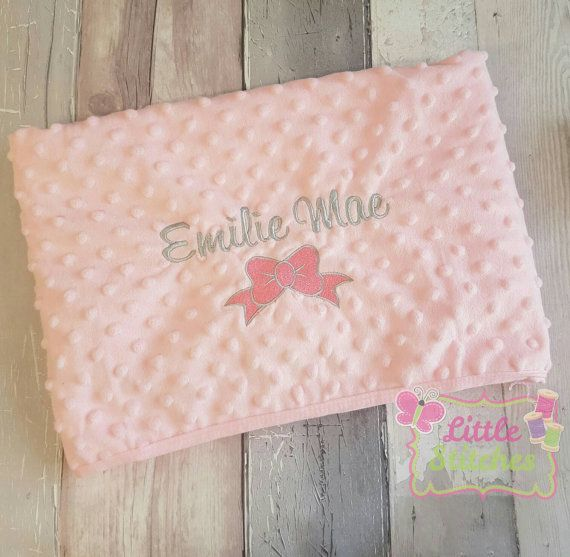 Personalised with name pink baby blanket with by Littlestitches1