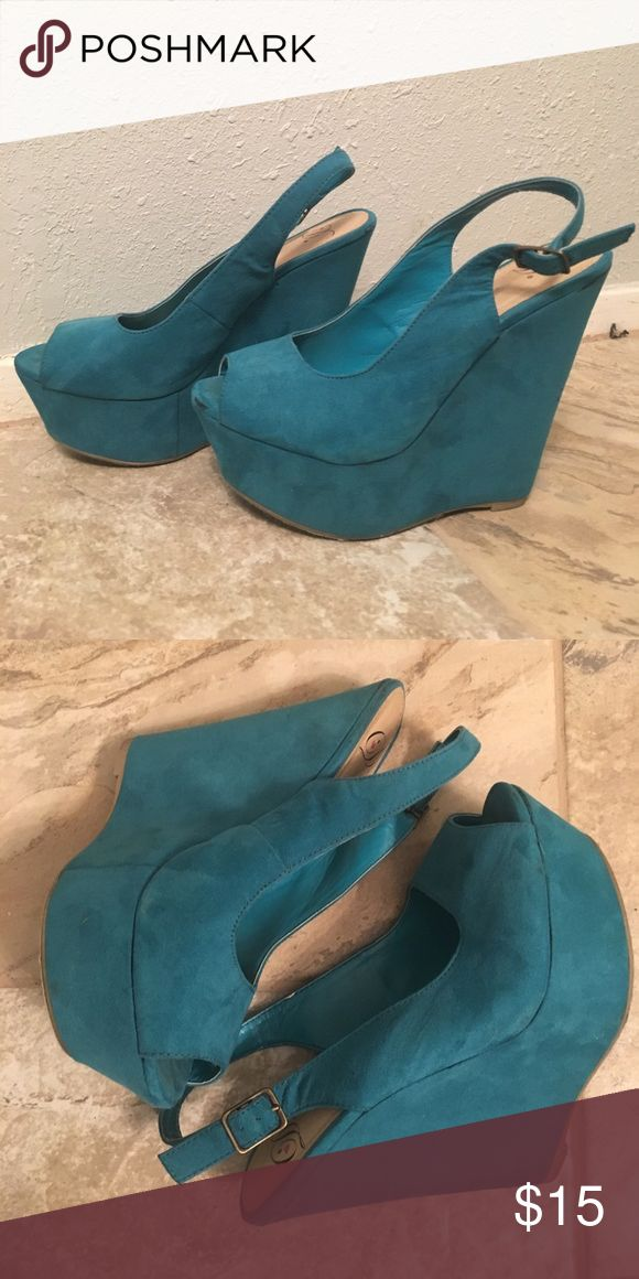 Teal Wedges Comfiest shoe ever! Super fun and colorful. Lightly used. Shoes Wedges