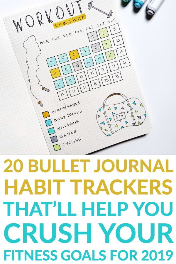 20 Bullet Journal Fitness Tracker Ideas That'll Help You Slay Your 2019 Fit Goals