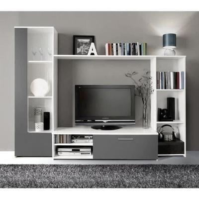 FINLANDEK Meuble TV mural PILVI contemporain blanc et gris - L 220