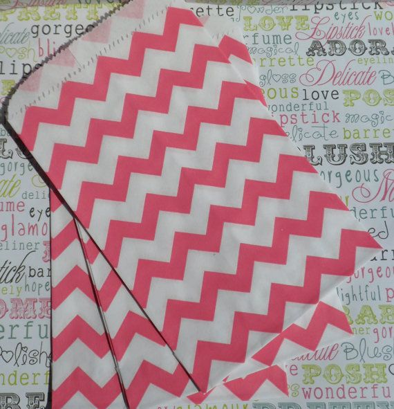 50 Hot Pink Chevron Party Bags Pink Wedding by BakersBlingShop, $7.00
