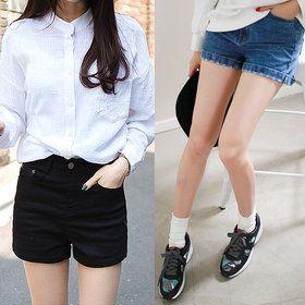 Gmarket - Denim shirts / slim fit / high waist / elastic waist /...