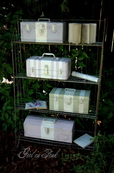 painted metal tool boxes with Chalk Paint® By One Girl In Pink--Normally I am hesitant to change the beautiful patina on these, but these really look great!