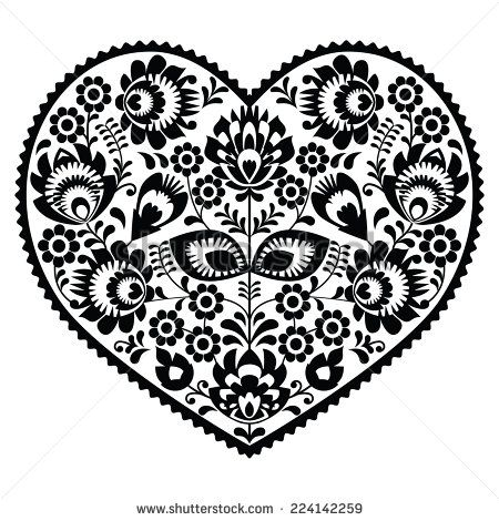 Polish black folk art heart pattern on white - wzory łowickie, wycinanki by RedKoala #Poland #Slav #Slavic #love #Valentines