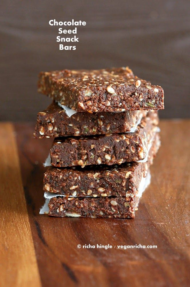 Super Seed Chocolate Protein Bars. Vegan Glutenfree Recipe | Vegan Richa