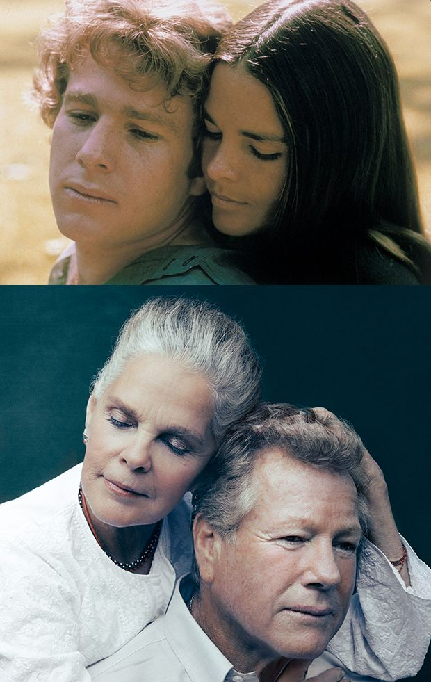 Ryan O'Neal and Ali MacGraw in the 1970 film Love Story (top); Ali MacGraw and Ryan O'Neal in a 2015 promotional image for Love Letters.