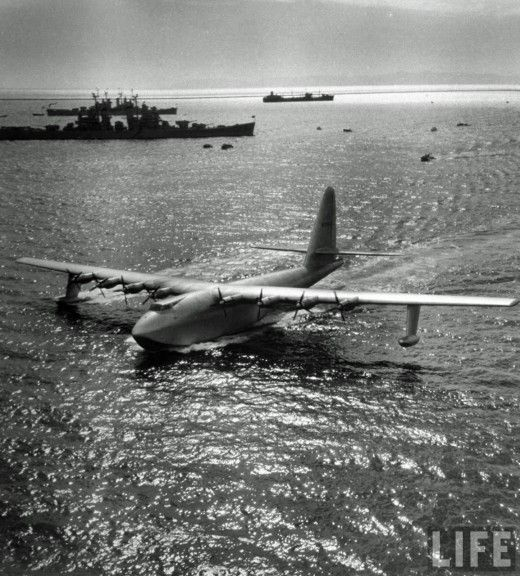 """""""The Hughes H-4 Hercules (""""Spruce Goose"""") made its only flight on November 2, 1947. Built from wood because of wartime restrictions, it was nicknamed the """"Spruce Goose"""" by critics, despite being made almost entirely of birch. It is the largest flying boat ever built, and has the largest wingspan of any aircraft in history."""