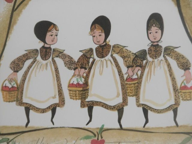 """P Buckley Moss Signed Print """"The Harvest Trio"""" Apples  2004 Vintage"""