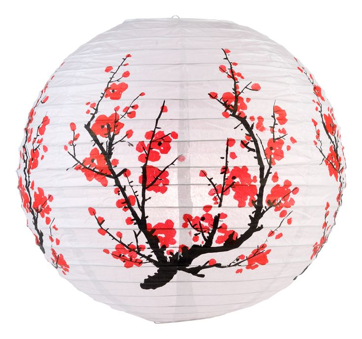 "14"" Japanese Plum Tree Paper Lantern from PaperLanternStore at the Best Bulk Wholesale Prices."