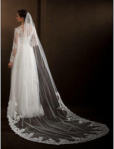 Wedding Veils Women's Elegant Tulle One-tier Lace Applique Edge Veils – EUR € 26.59