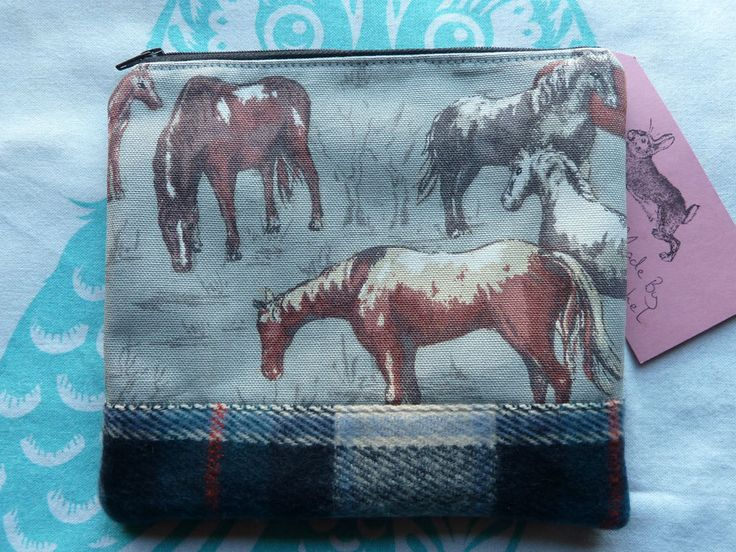 Handmade Makeup Bag Cosmetic Pencil Case Cath Kidston Wild Horses Wool Animal in Clothes, Shoes & Accessories, Women's Accessories, Purses & Wallets | eBay