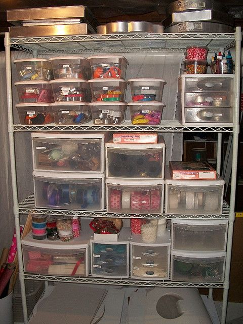 organization for cookie cutters & sprinkles & packaging supplies