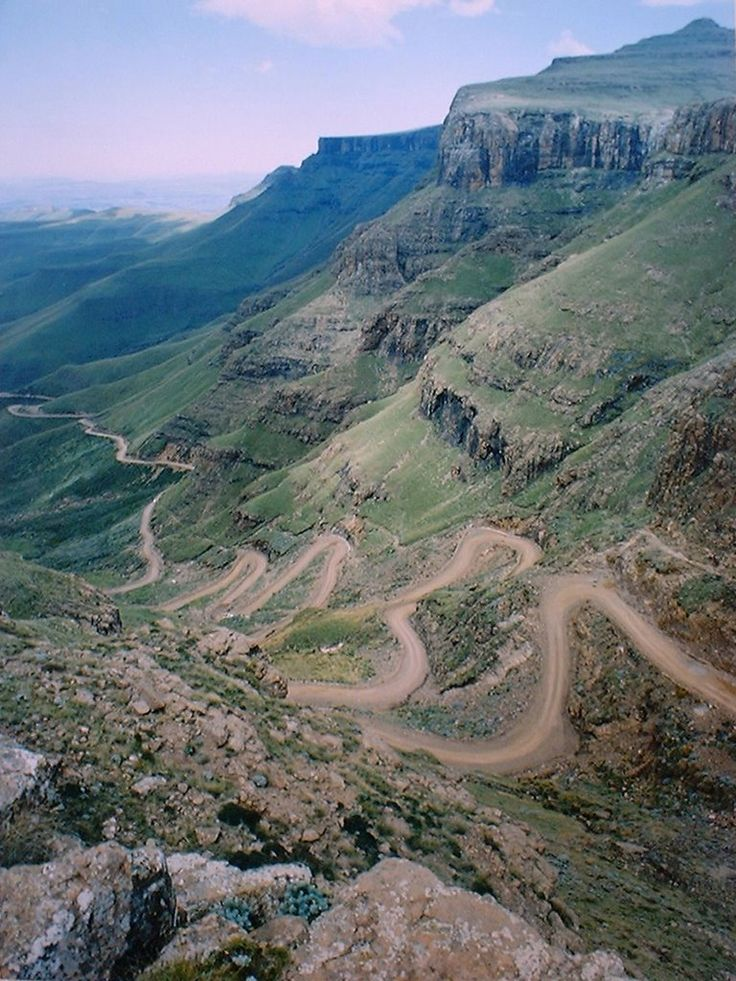 Sani Pass viewed from the highest pub in Africa