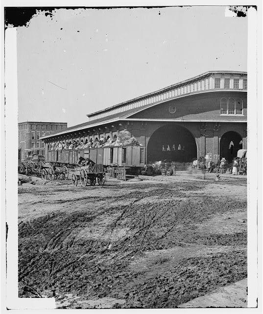 [Atlanta, Ga. Boxcars with refugees at railroad depot]