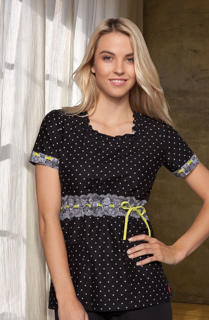 Original Junior Fit top features a smocked round neckline and a front tie for adjustable shape.