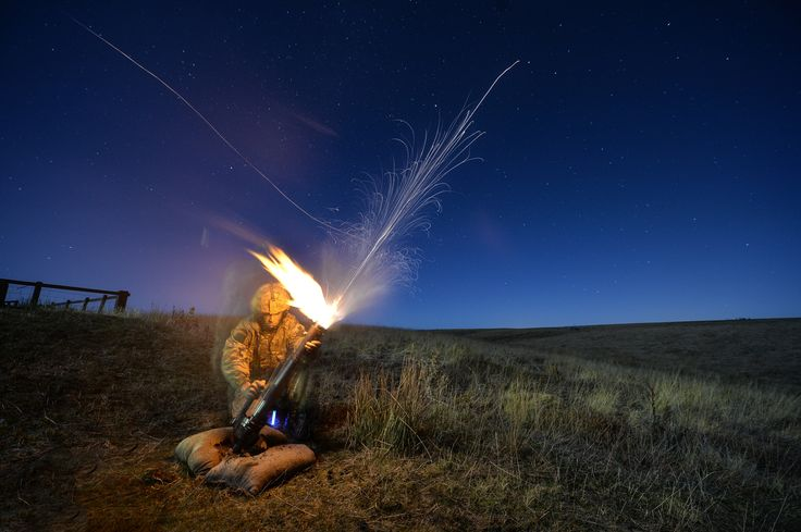 Private Andy Stewart (25) from Arbroath, A Company, 3 Parachute Regiment, fires an illumination round from a 60mm mortar on Otterburn Ranges. Photographer Sgt Si Longworth; Crown copyright.