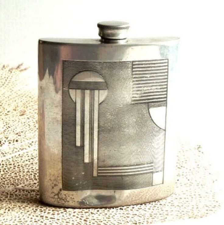 Art Deco Silver Plated Flask (c. 1930)