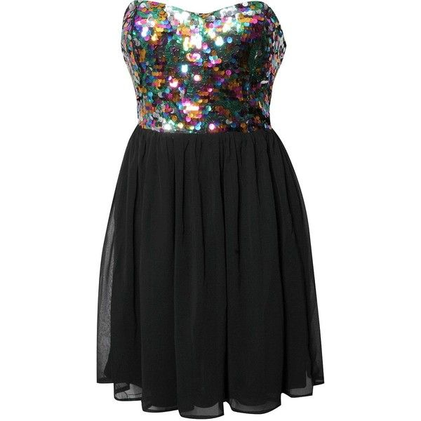 Rare Sequin Top Babydoll Dress (£19) ❤ liked on Polyvore featuring dresses, vestidos, short dresses, robe, baby doll dress, chiffon cocktail dress, colorful cocktail dress, doll dress and multi color sequin dress