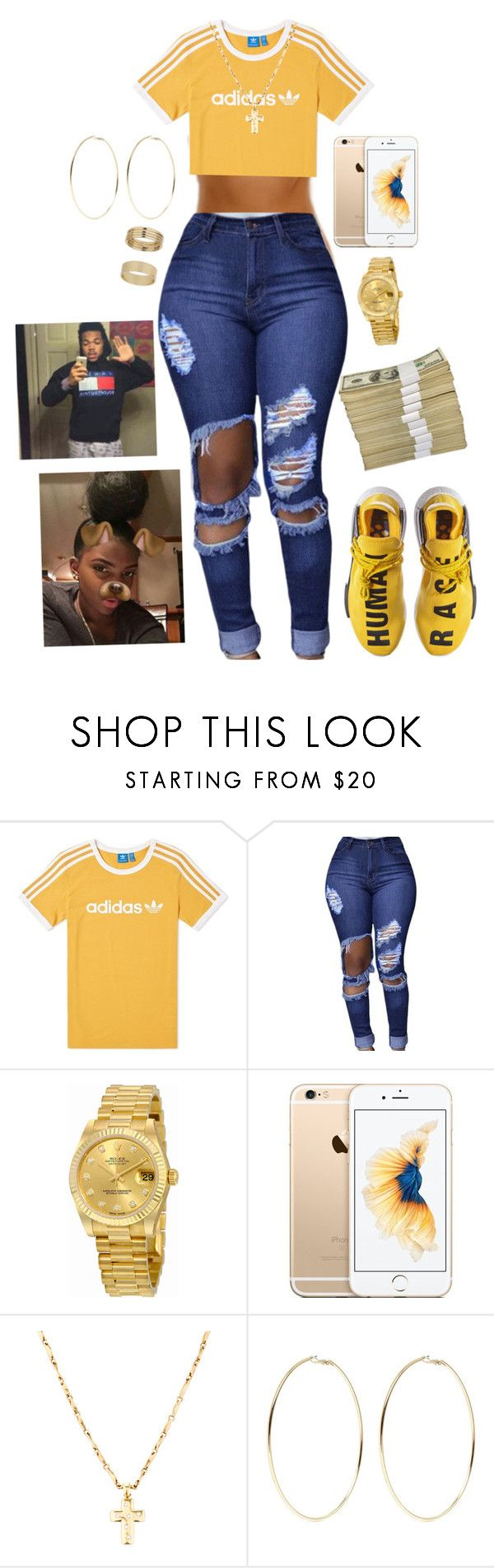 """""""Chance the rapper 💛💛"""" by khayaehop ❤ liked on Polyvore featuring adidas, Rolex, Kenneth Jay Lane and Miss Selfridge"""