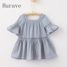 Hurave 2017 новая мода девушки одеваются дети flare рукава корейский стиль вышивки одежда для отдыха детей(China (Mainland))