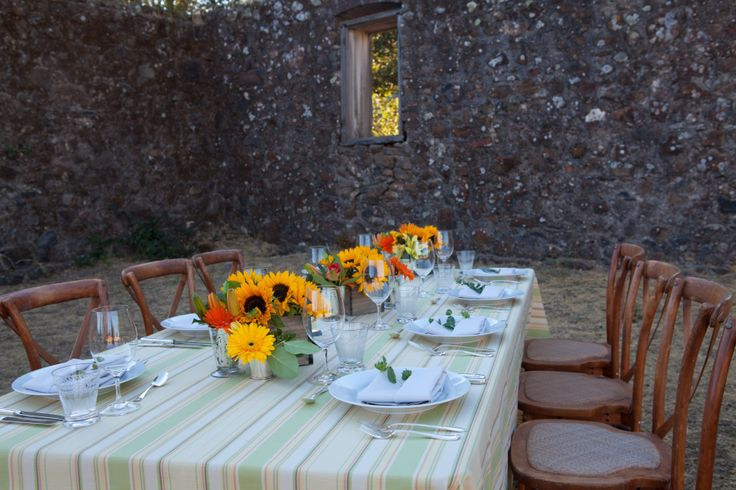 Beautiful table set in the winery ruins