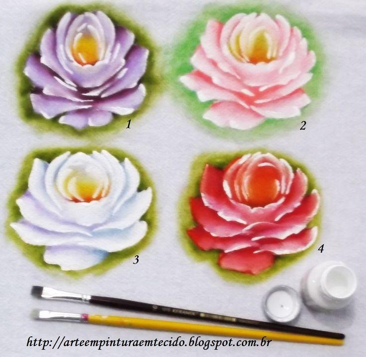 Pintura em Tecido Passo a Passo Com Fotos: Pintura em Tecido Rosas Amostras