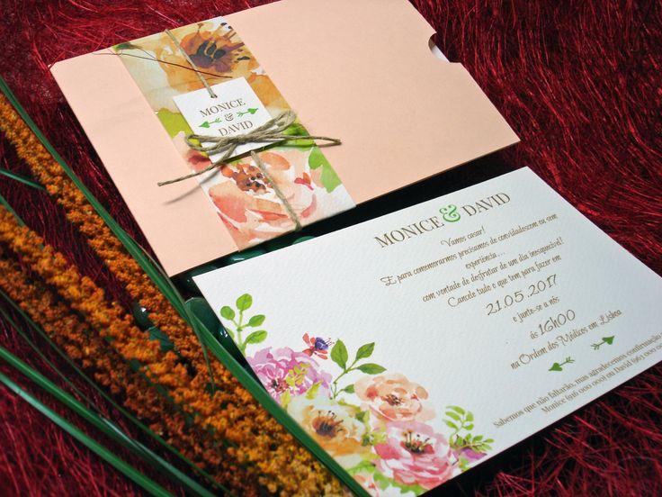 Convite moderno e original com aguarela floral, Floral wedding invitation