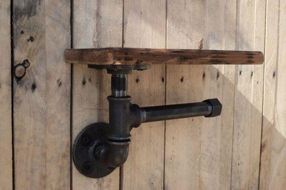 Industriële hout & pijp Toiletrol-houder door mafouindustrial
