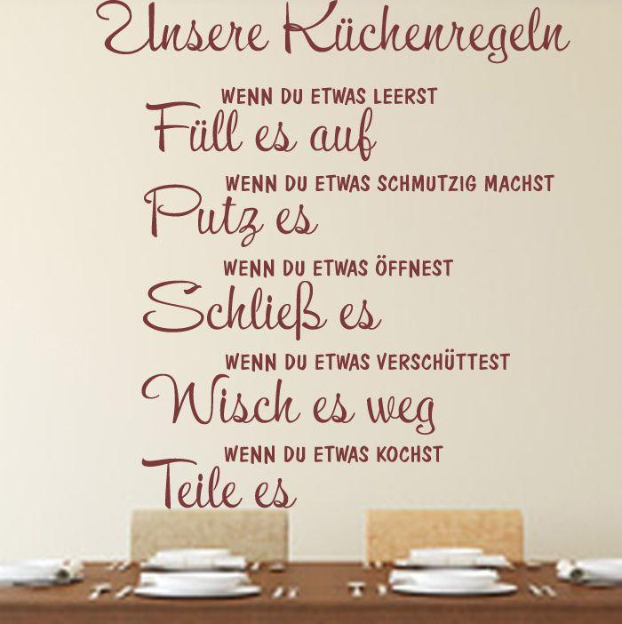 Wandtattoo Küchenregeln Küche Spruch Zitat WallArt Familie Wandaufkleber Eßzimmer Worte Zitat WA-179