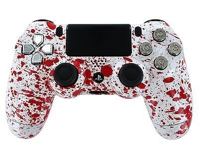"""Blood Splatter"" PS4 Custom Modded Controller Pro Finish for COD by www.gimika.com / mods for pro gamers / a gift for a real gamer"